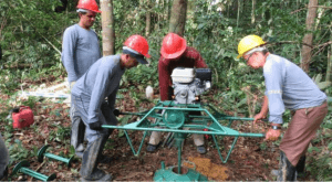 Basic drilling for samples at Cabral's project in Tapajos, Northern Brazil.