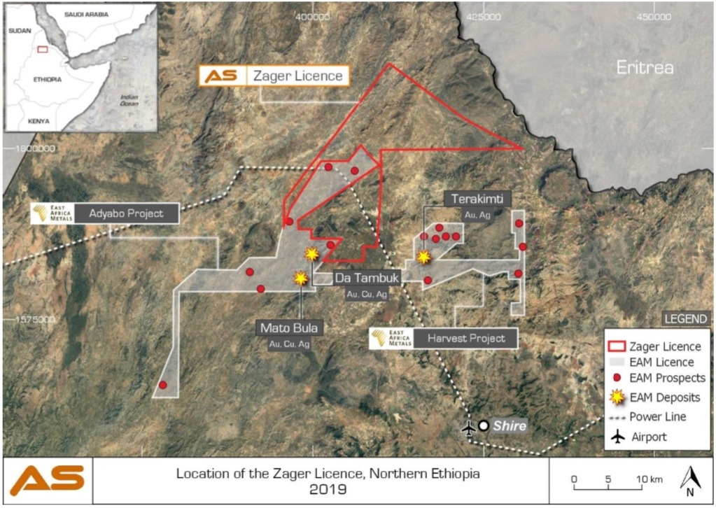 Altus strategies, location of the Zager licence in northern Ethiopia