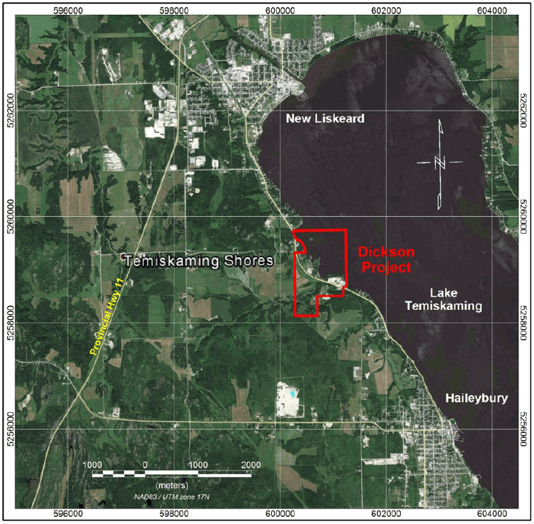 The Dickson Project's location and individual prospects on the shores of Lake Timiskaming.