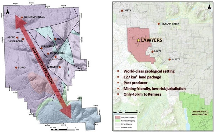 Benchmark Metals Lawyers project location in British Columbia, Canada