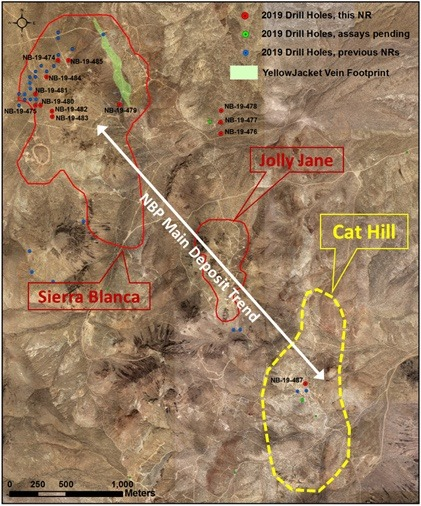 Corvus Gold, Location of new holes at North Bullfrog, Nevada