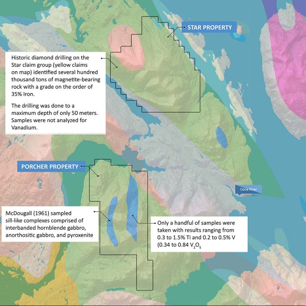 Geological map showing major units and Delrey Metal's new claims
