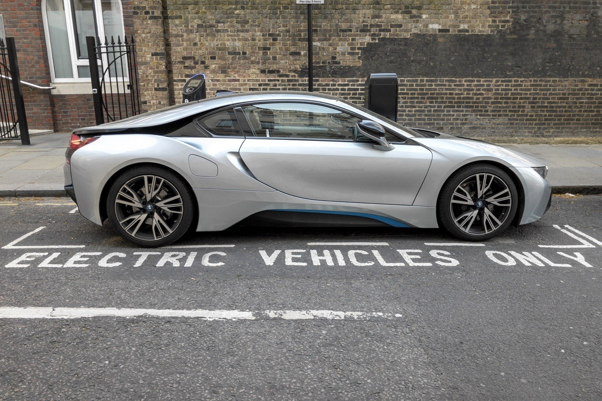 BMW Electric Car, electric vehicle parking space in street