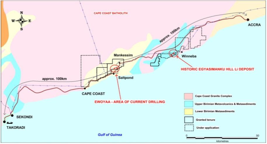 IronRidge Resources - Ewoyaa Project in Ghana location relative to major infrastructure