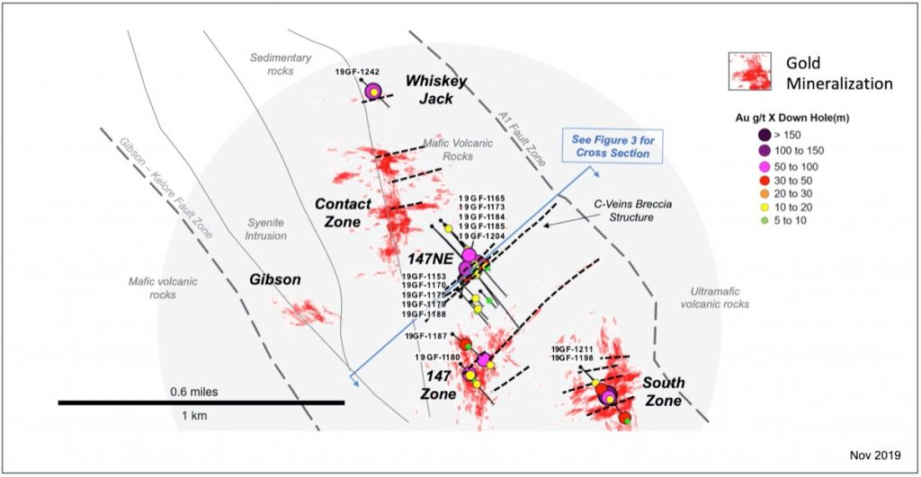 McEwen Mining - Grey Fox Area - Plan View of Mineralization & Drill Hole Locations