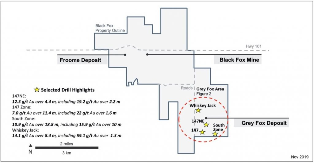 McEwen Mining -  Plan Map of the Grey Fox Area & Selected New Drill Intersections