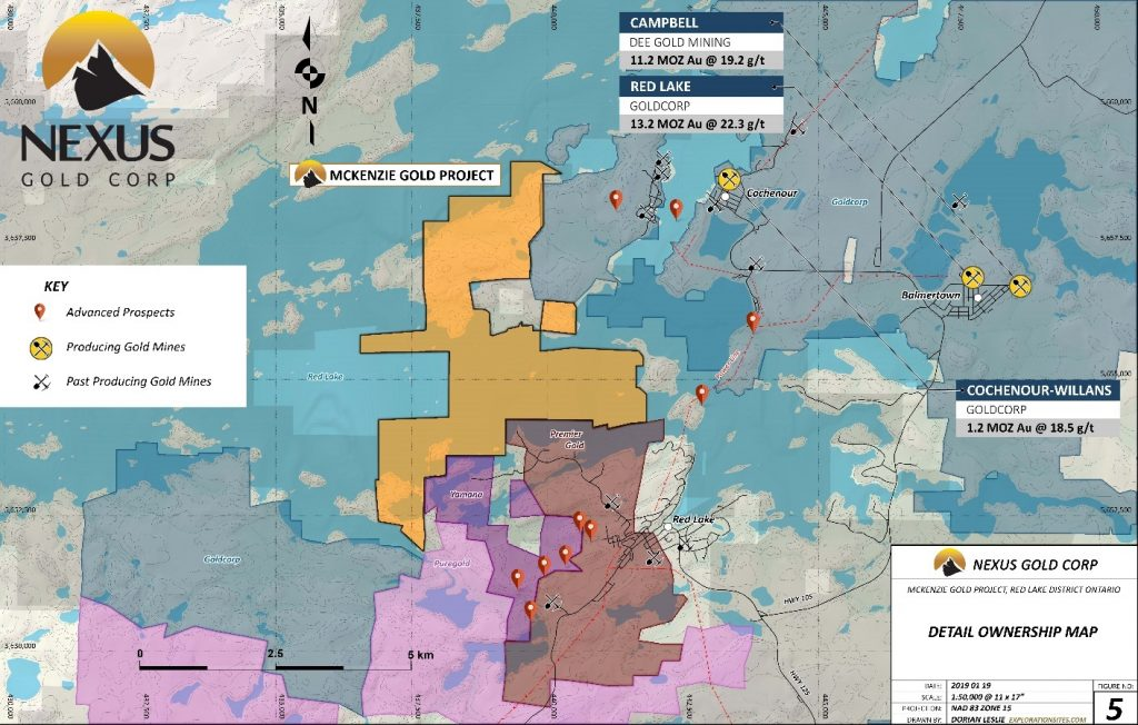 Nexus Gold Corp - Area map showing McKenzie Gold Project and surrounding companies/projects