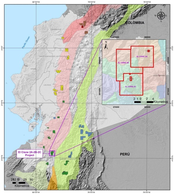 SolGold - Location plan of the Cisne Loja Project in southern Ecuador.