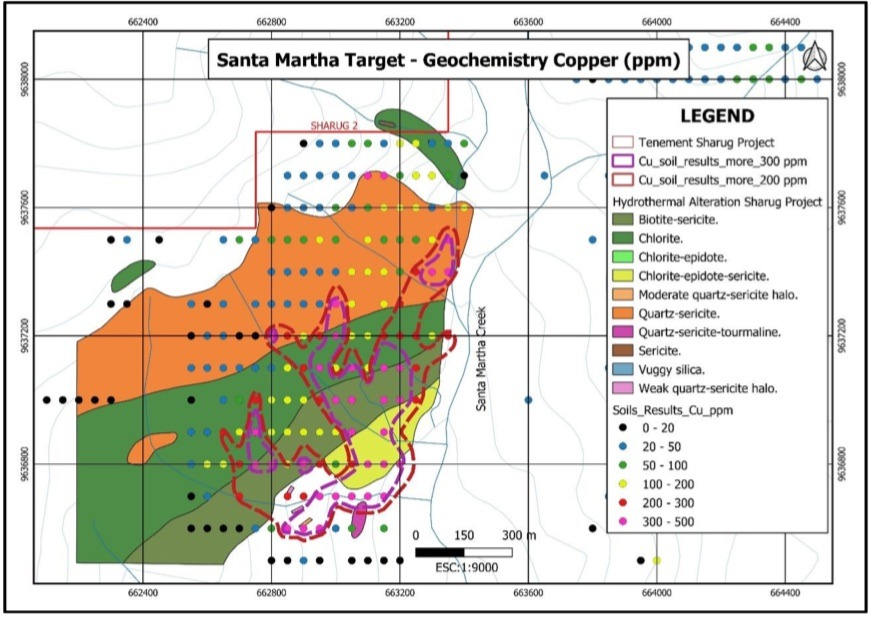 SolGold - Alteration mapping and auger soil copper anomalies – Santa Martha