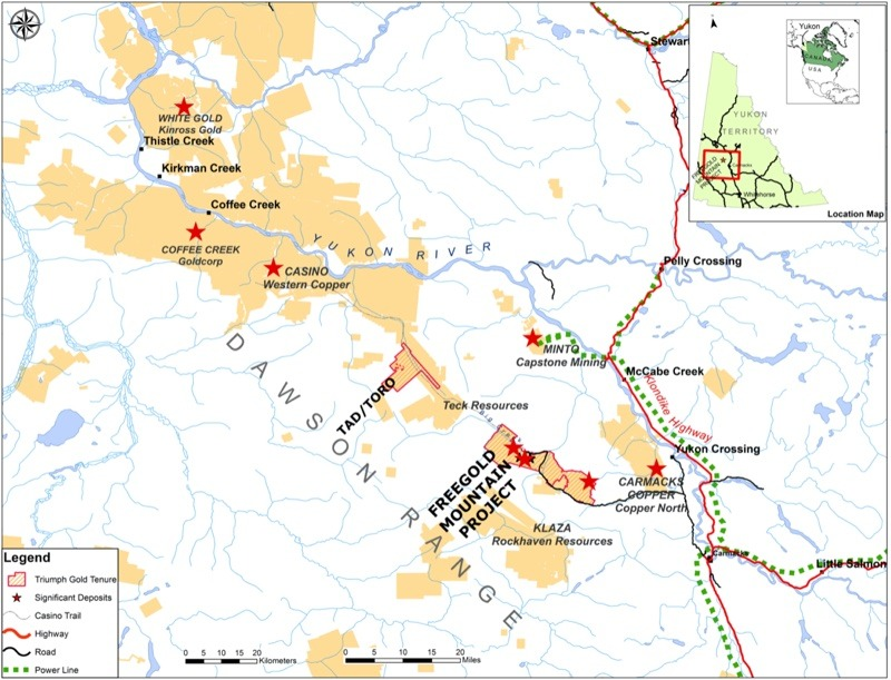 Triumph Gold project map, Yukon